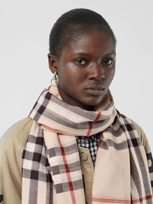 Lightweight Check Wool and Silk Scarf in Stone | Burberry - cell image 2