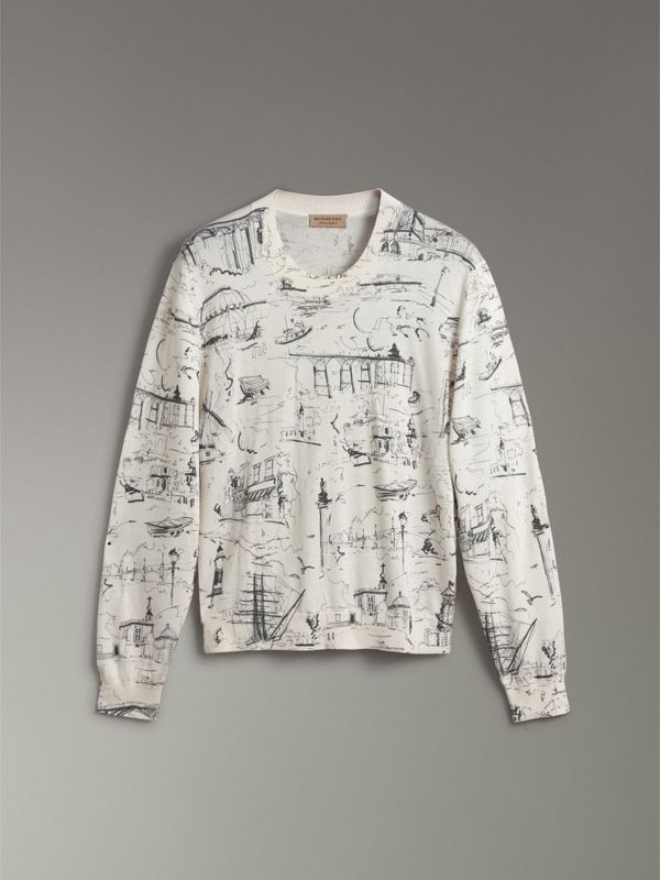 Landmark Print Silk Cashmere Sweater in Natural White - Women | Burberry Singapore - cell image 3