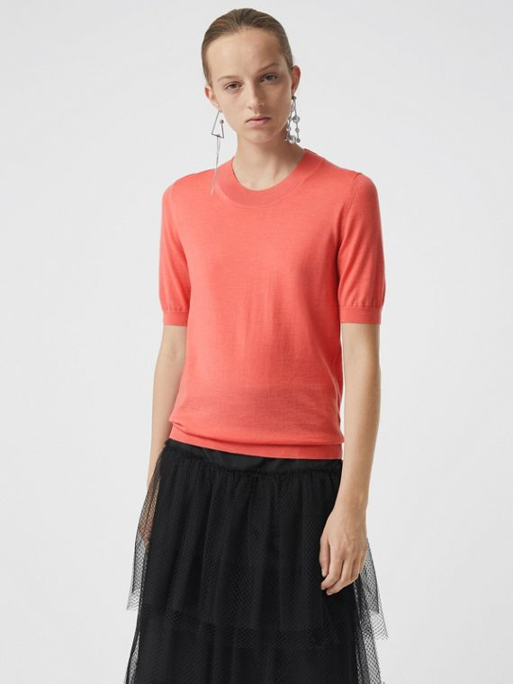 Crew Neck Merino Wool Sweater in Coral
