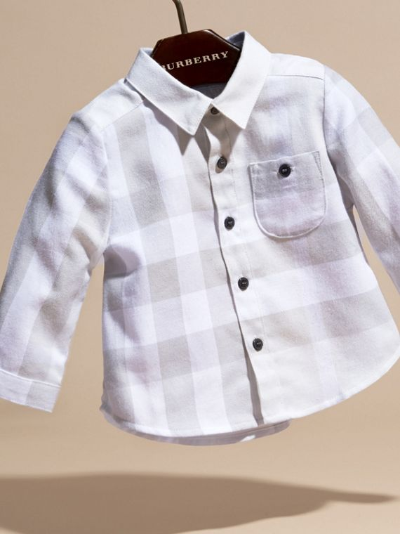 Pale grey Washed Check Cotton Flannel Shirt - cell image 2