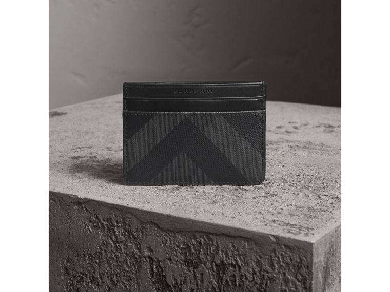 London Check Card Case in Charcoal/black - Men | Burberry Australia - cell image 4