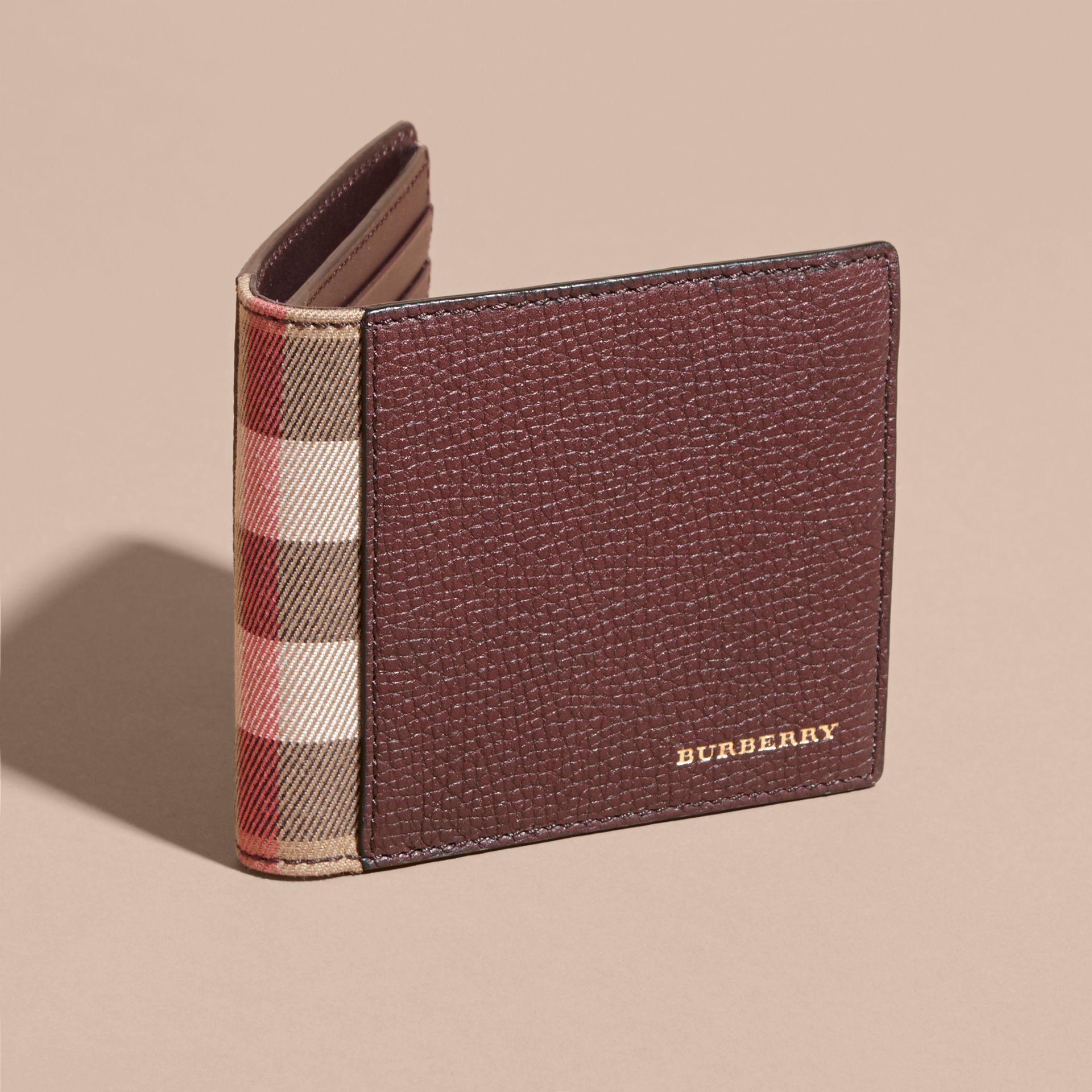 Leather and House Check International Bifold Wallet in Wine | Burberry - gallery image 6