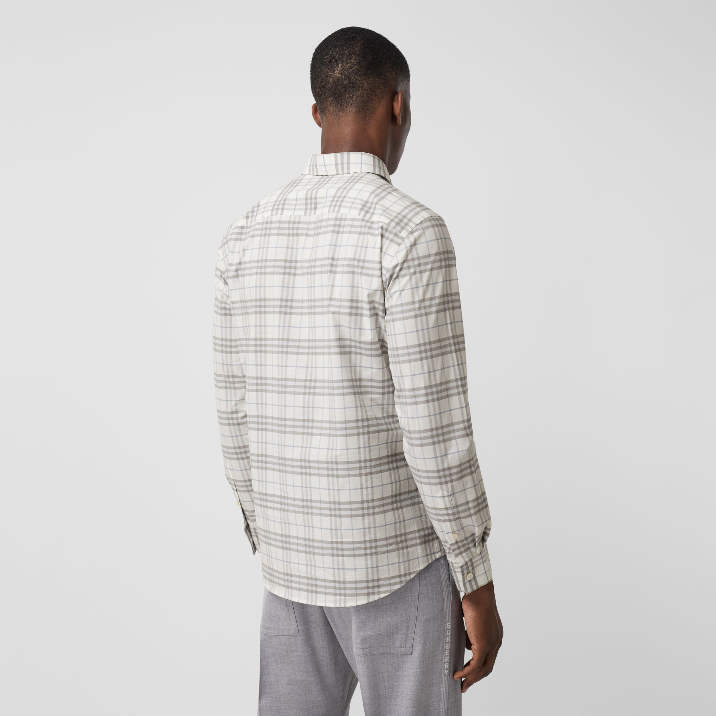 Small Scale Check Stretch Cotton Shirt in Parchment - Men | Burberry - 3