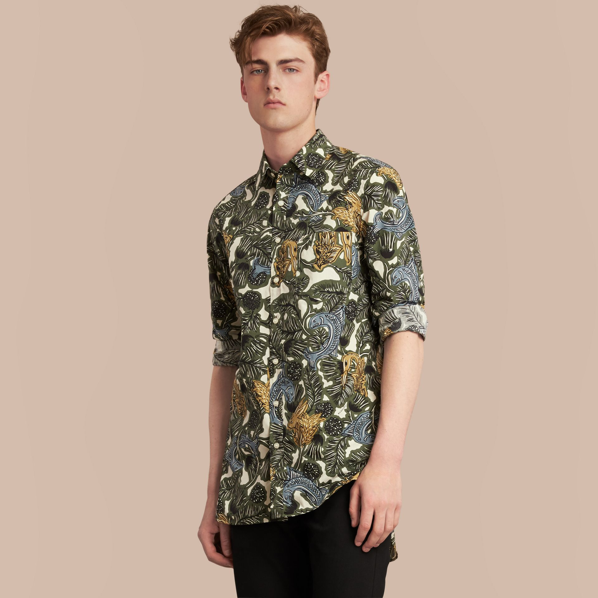 Beasts Print Cotton Poplin Longline Shirt in Sage Green - gallery image 1