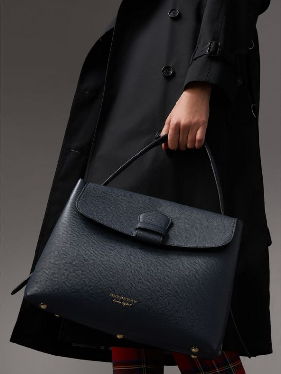 Medium Grainy Leather and House Check Tote Bag in Ink Blue - Women | Burberry - cell image 3