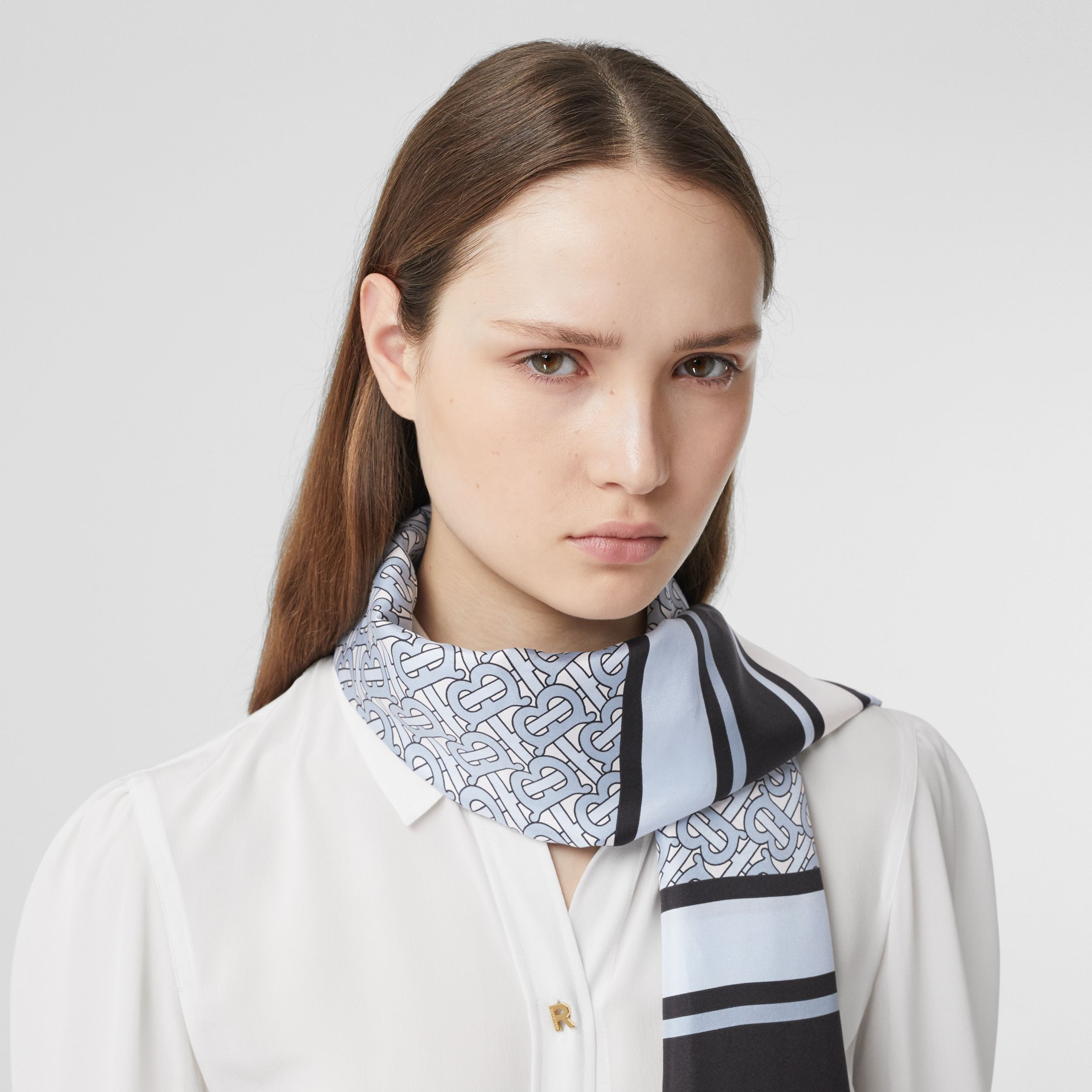 Monogram, Icon Stripe and Check Print Silk Scarf in Pale Blue | Burberry Australia - 3