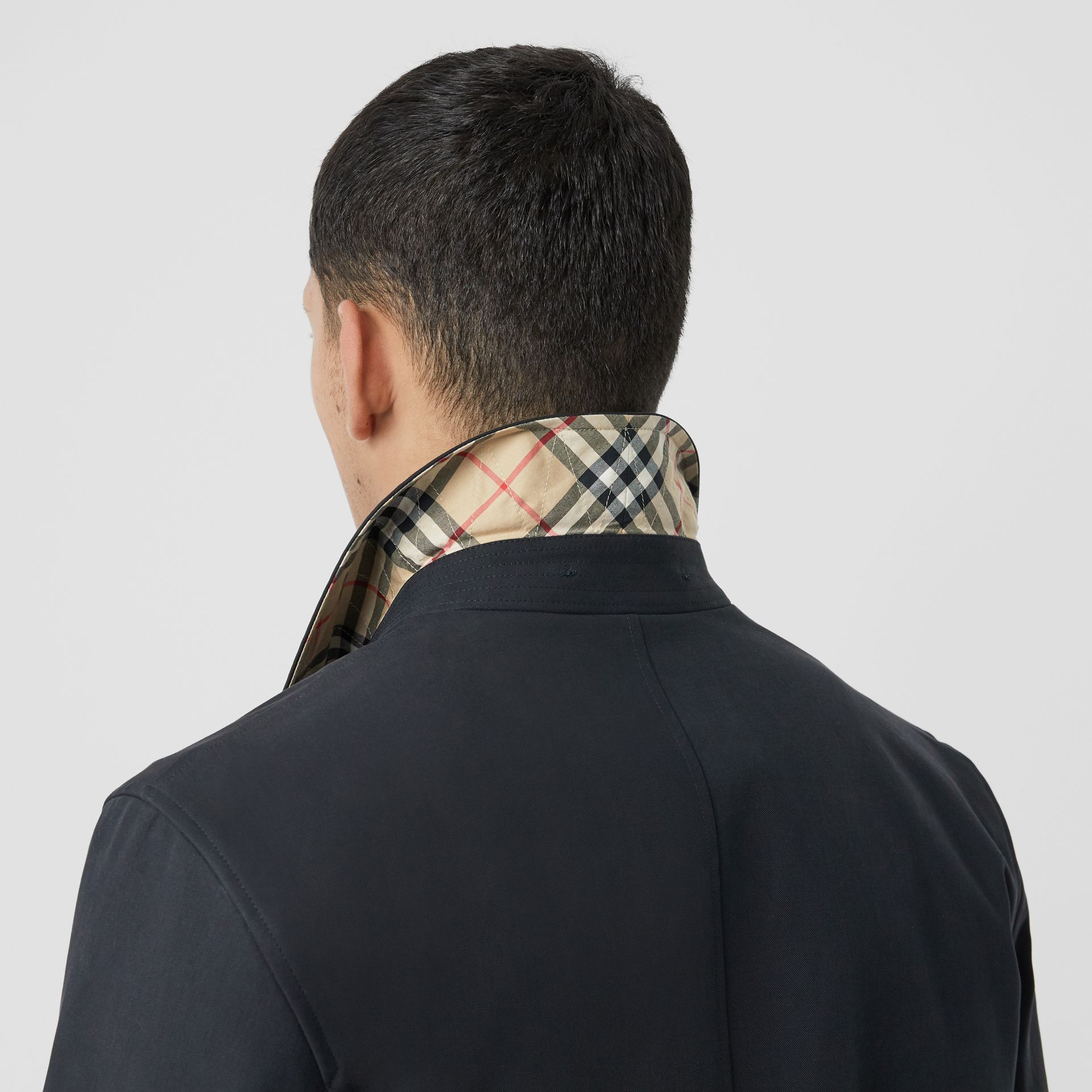 Detachable Striped Collar Cotton Car Coat in Navy - Men | Burberry - gallery image 5