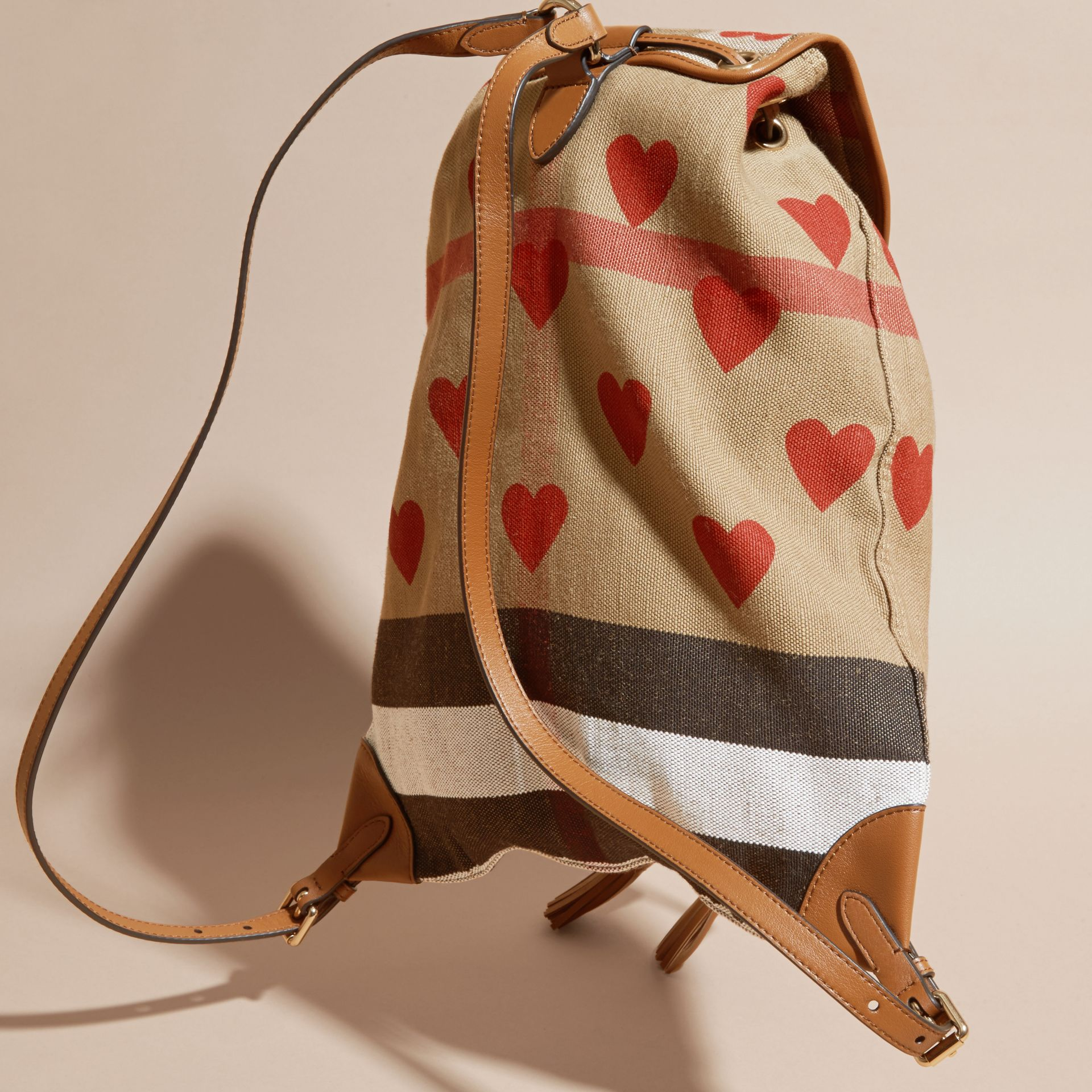 Parade red/tan Heart Print Canvas Check Backpack with Leather Trim Parade Red/tan - gallery image 4