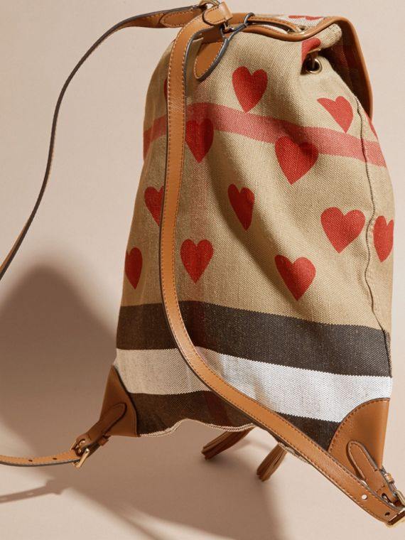 Parade red/tan Heart Print Canvas Check Backpack with Leather Trim Parade Red/tan - cell image 3