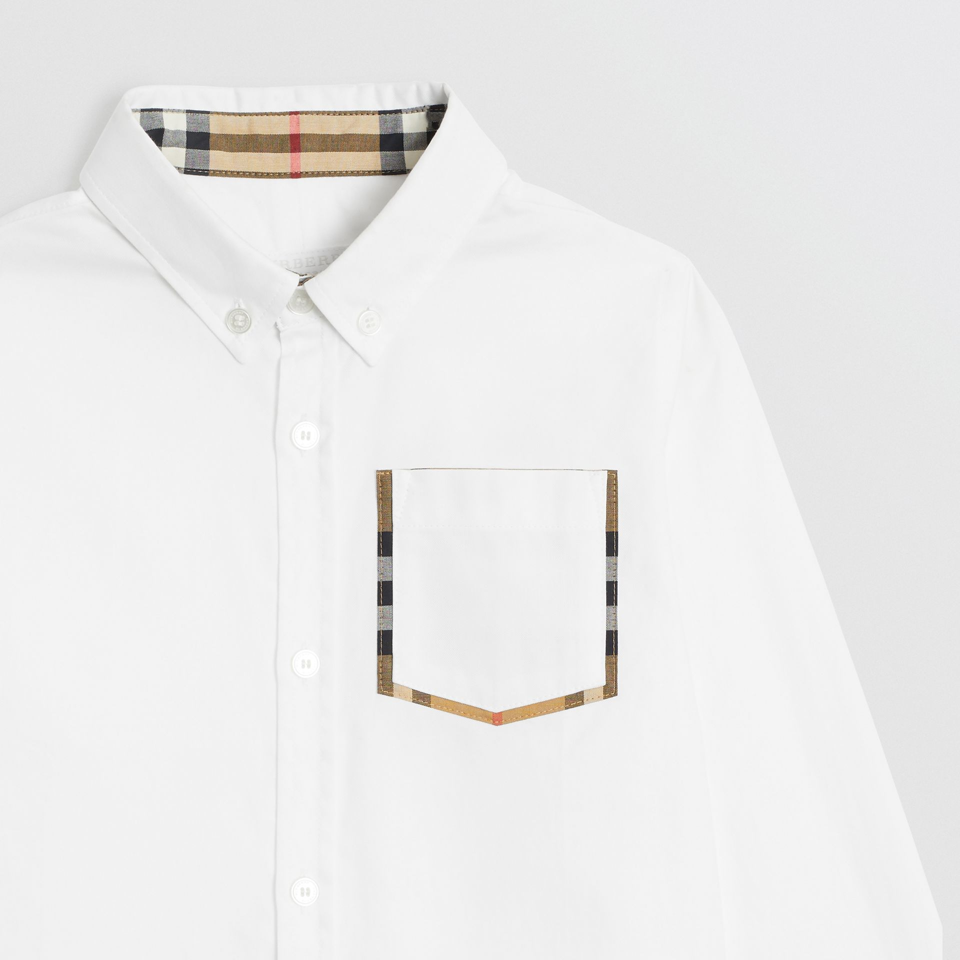 Check Detail Cotton Oxford Shirt in White | Burberry Canada - gallery image 4