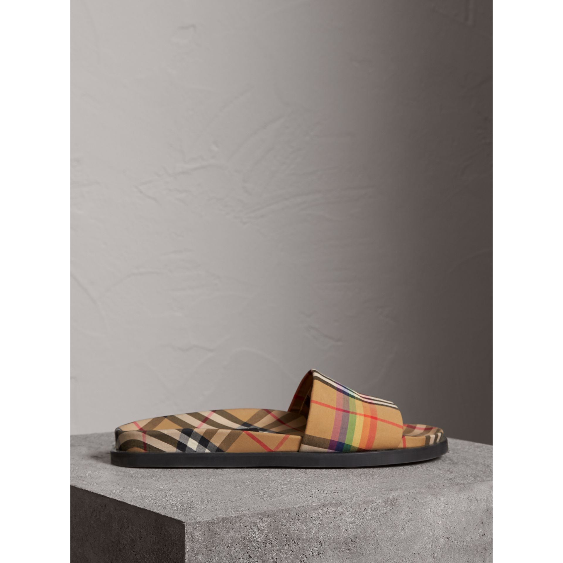 Rainbow Vintage Check Slides in Antique Yellow - Women | Burberry Australia - gallery image 3