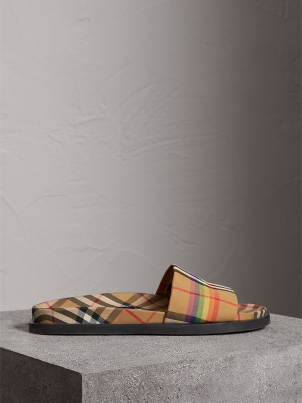 Rainbow Vintage Check Slides in Antique Yellow - Women | Burberry Australia - cell image 3