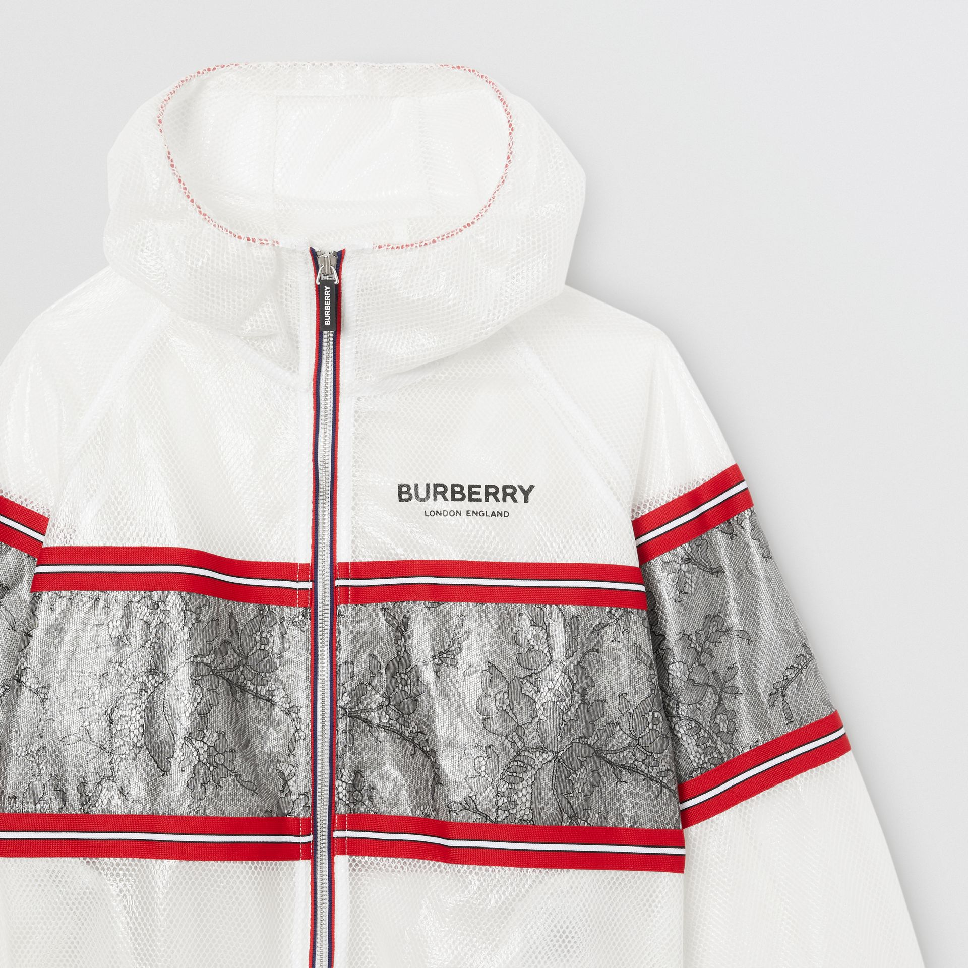 Lace Panel Laminated Mesh Hooded Jacket in White | Burberry Australia - gallery image 4