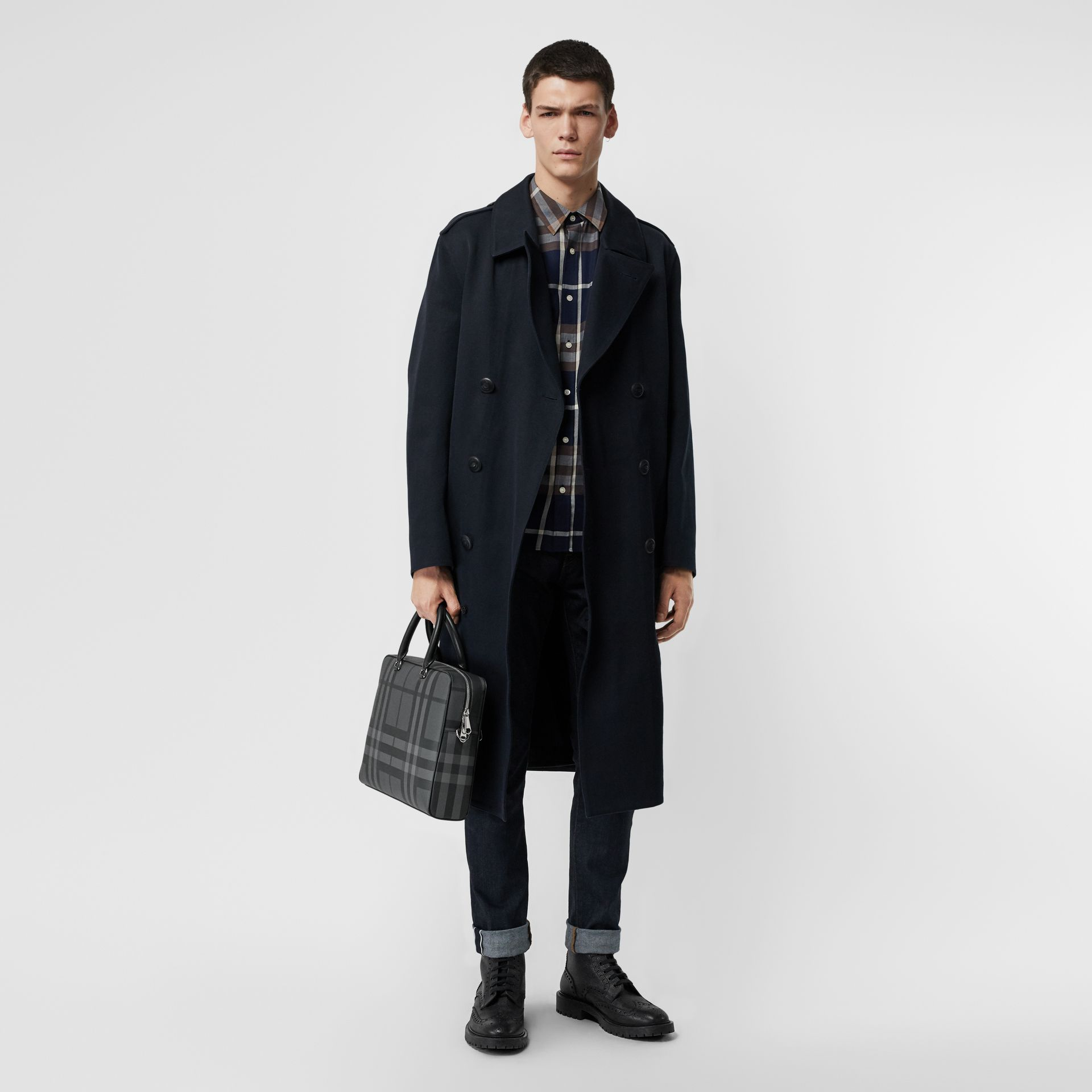 London Check and Leather Briefcase in Charcoal/black - Men | Burberry United States - gallery image 2