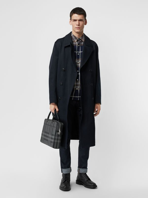 London Check and Leather Briefcase in Charcoal/black - Men | Burberry Canada - cell image 2