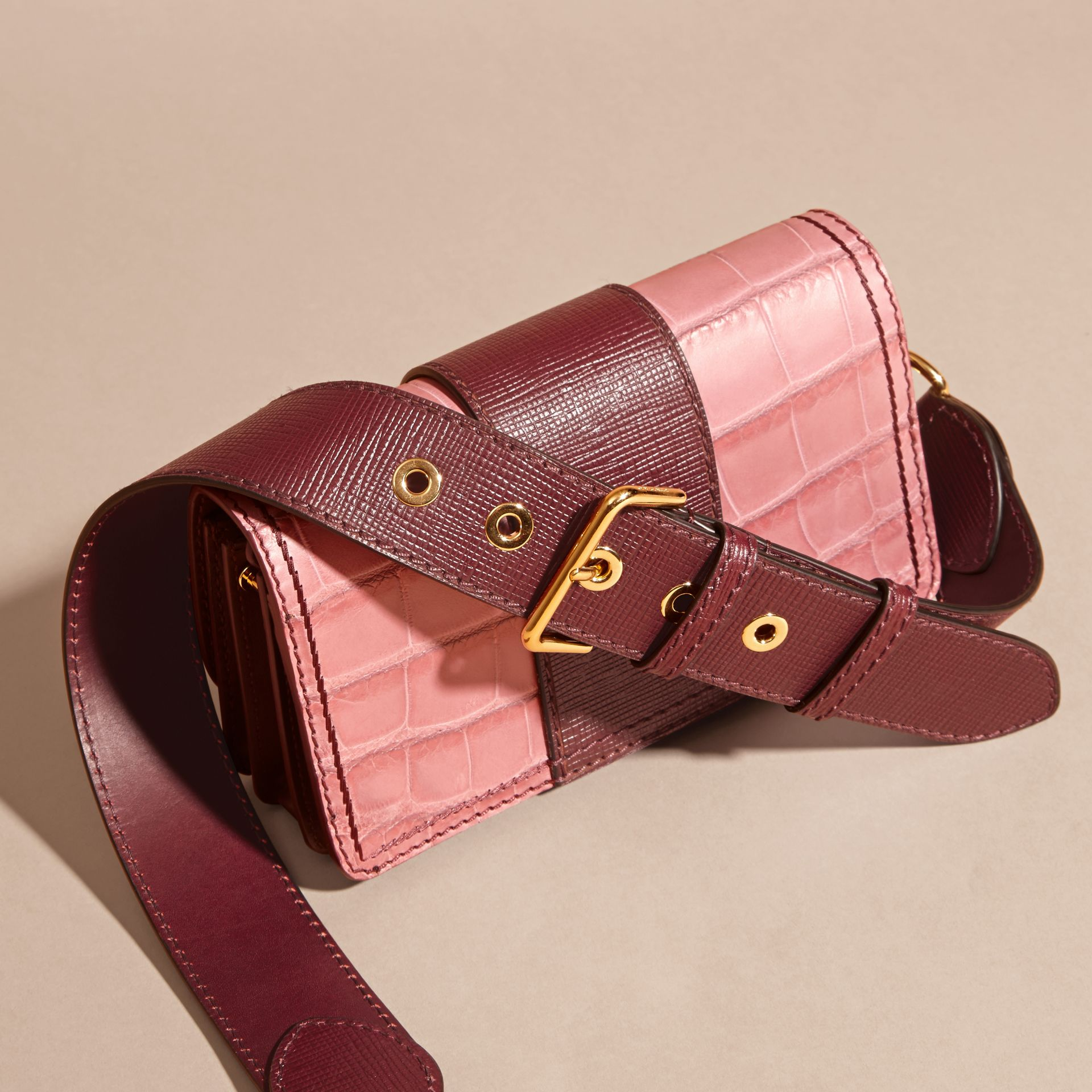 Dusky pink/ burgundy The Small Buckle Bag in Alligator and Leather Dusky Pink/ Burgundy - gallery image 5