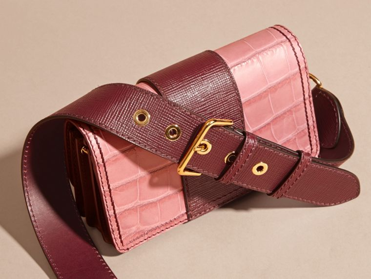 The Small Buckle Bag in Alligator and Leather Dusky Pink/ Burgundy - cell image 4