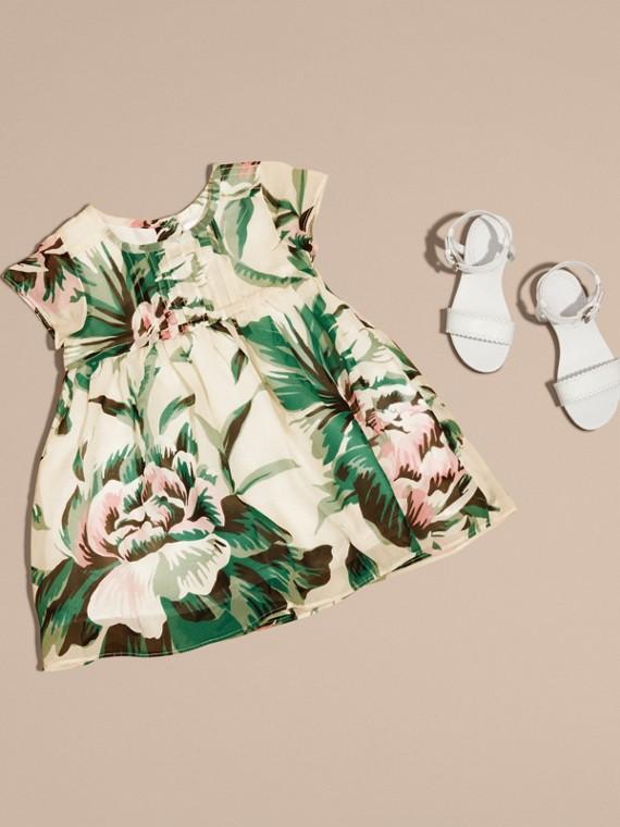 Peony Rose Print Silk Dress