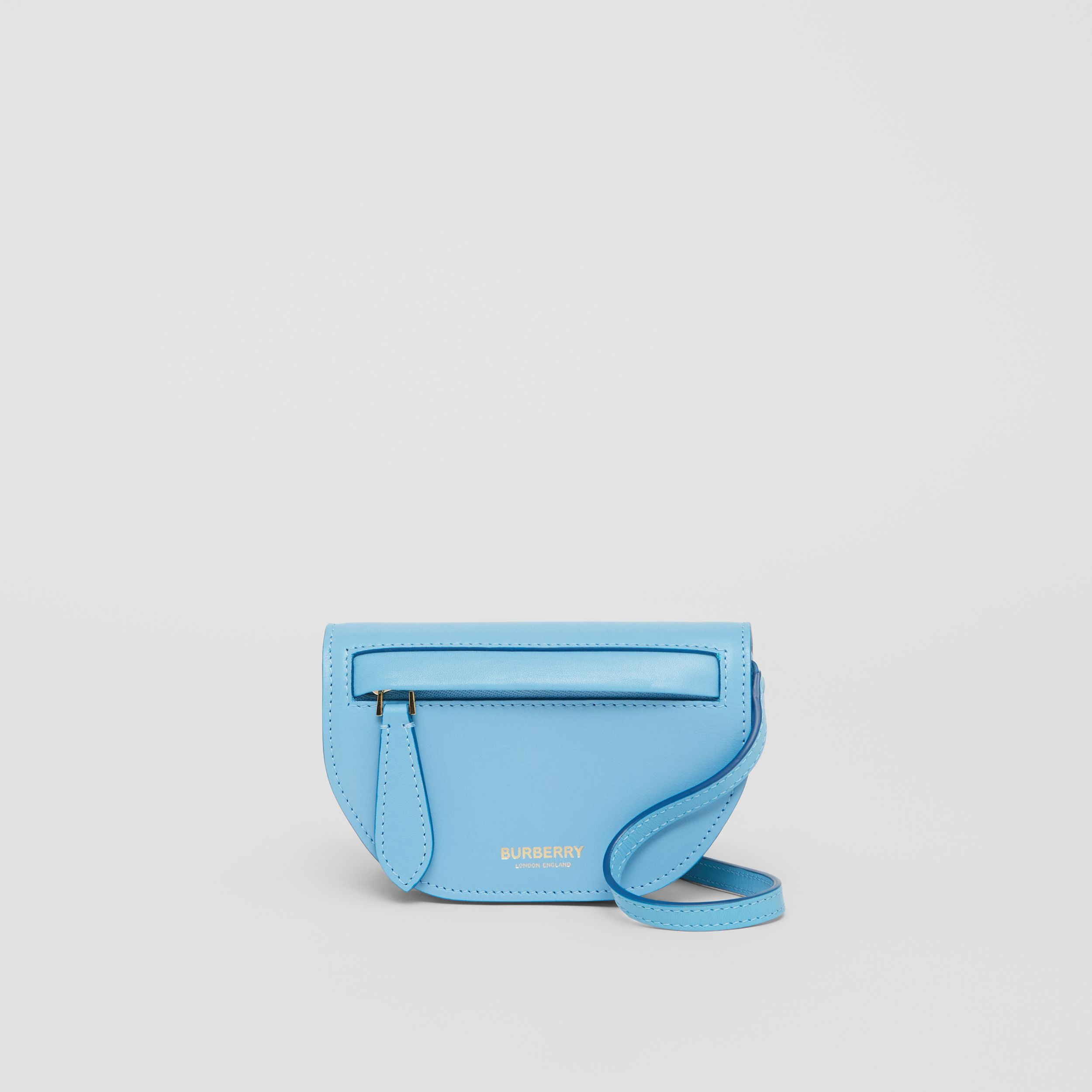 Leather Olympia Card Case with Detachable Strap in Blue Topaz | Burberry - 1