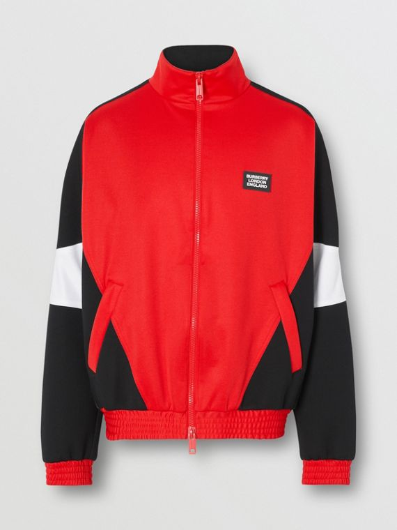 Logo Appliqué Jersey and Neoprene Track Top in Bright Red