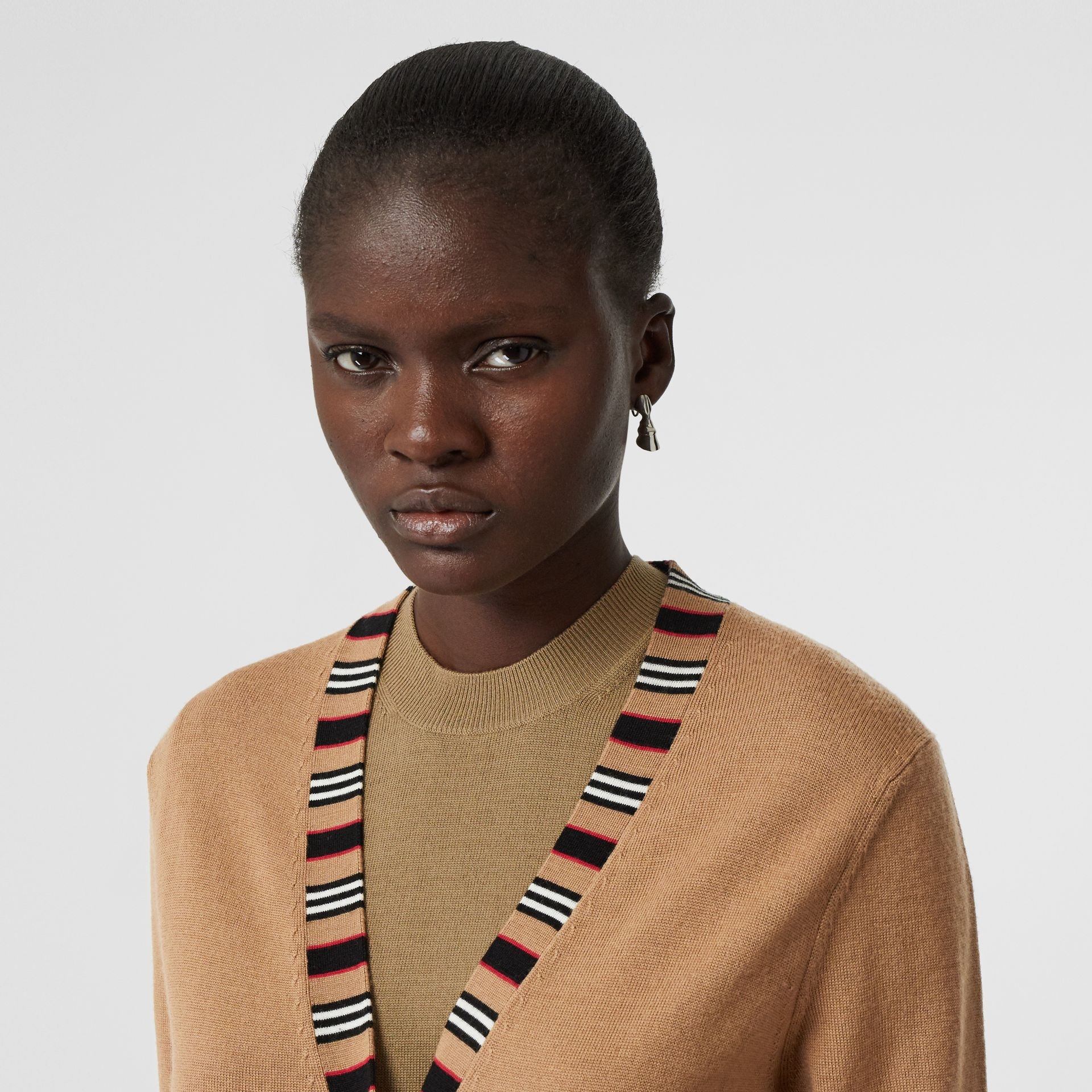 Icon Stripe Detail Merino Wool Cardigan in Camel - Women | Burberry Australia - gallery image 1