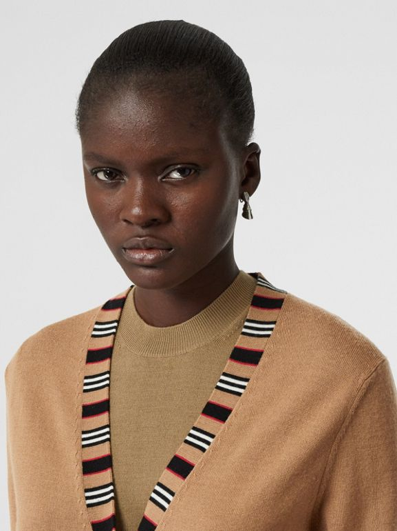 Icon Stripe Detail Merino Wool Cardigan in Camel - Women | Burberry Australia - cell image 1