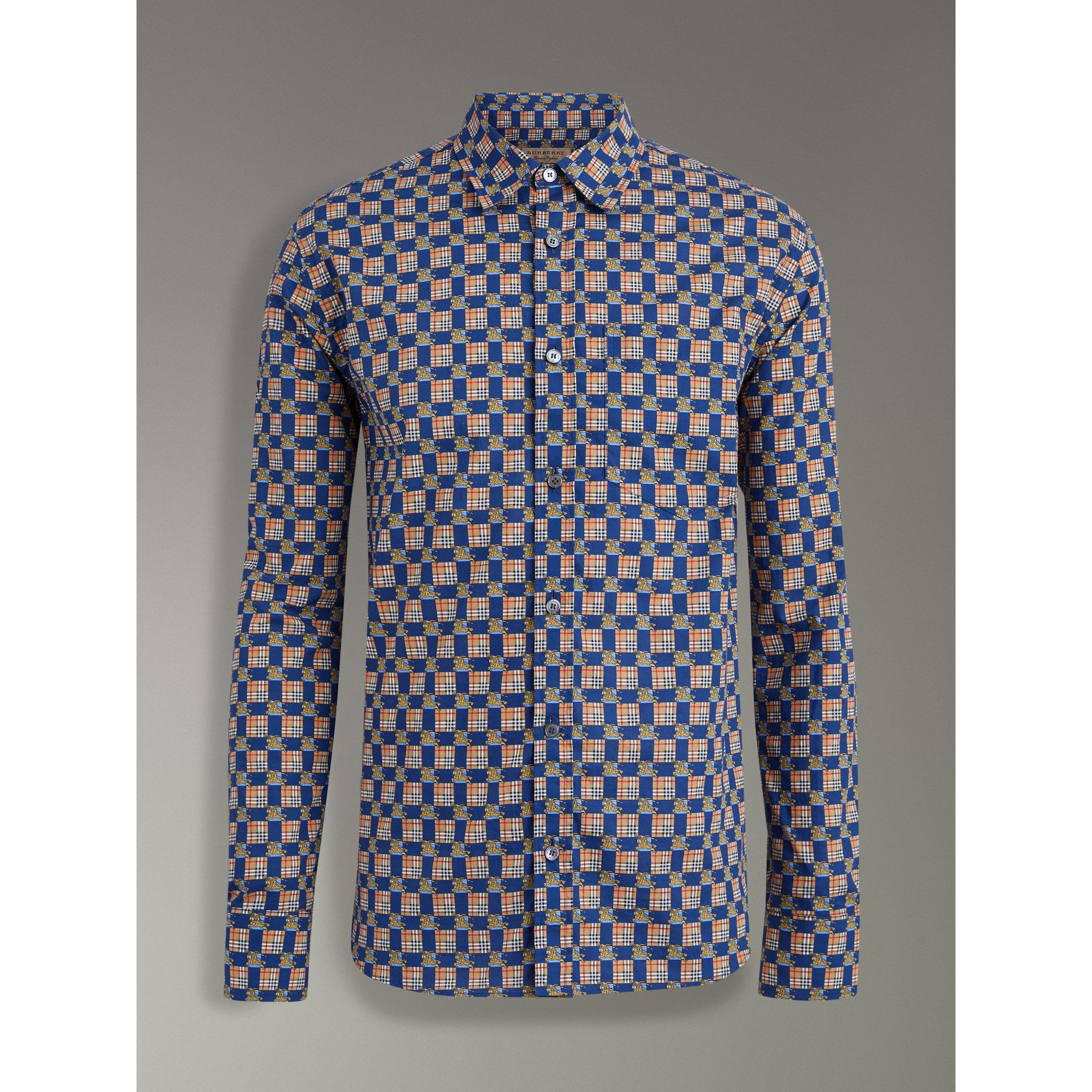 Tiled Archive Print Cotton Shirt in Navy - Men | Burberry - gallery image 3