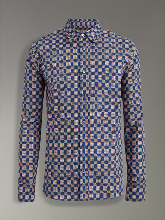Tiled Archive Print Cotton Shirt in Navy - Men | Burberry - cell image 3