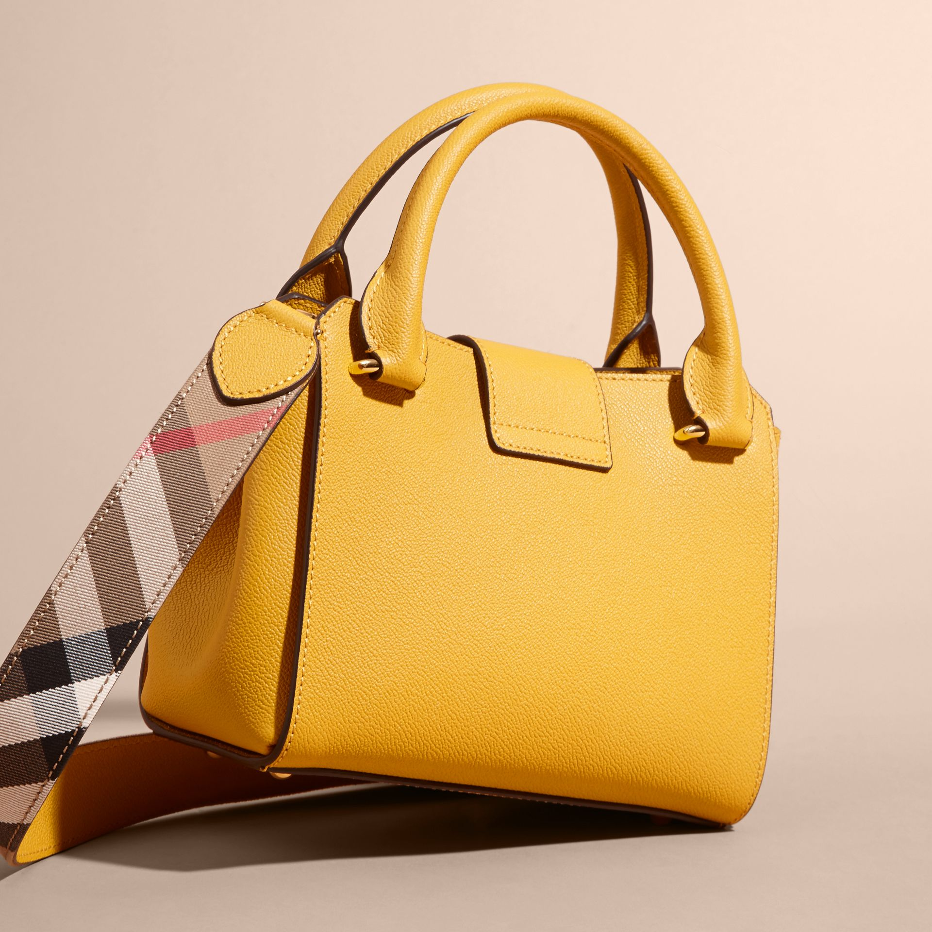 The Small Buckle Tote in Grainy Leather in Bright Straw - Women | Burberry Singapore - gallery image 5