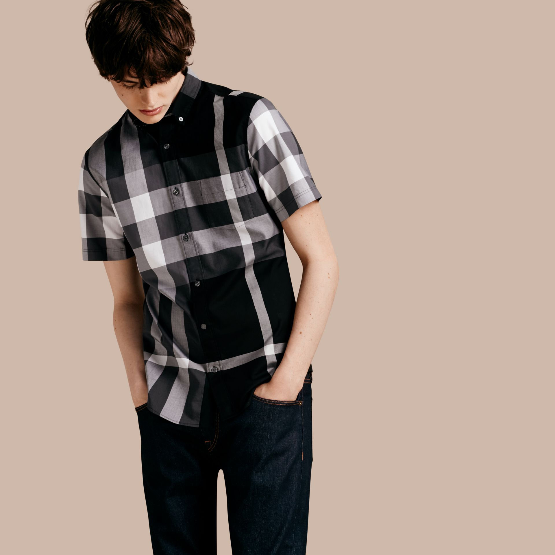 Black Short-sleeved Check Cotton Shirt Black - gallery image 6
