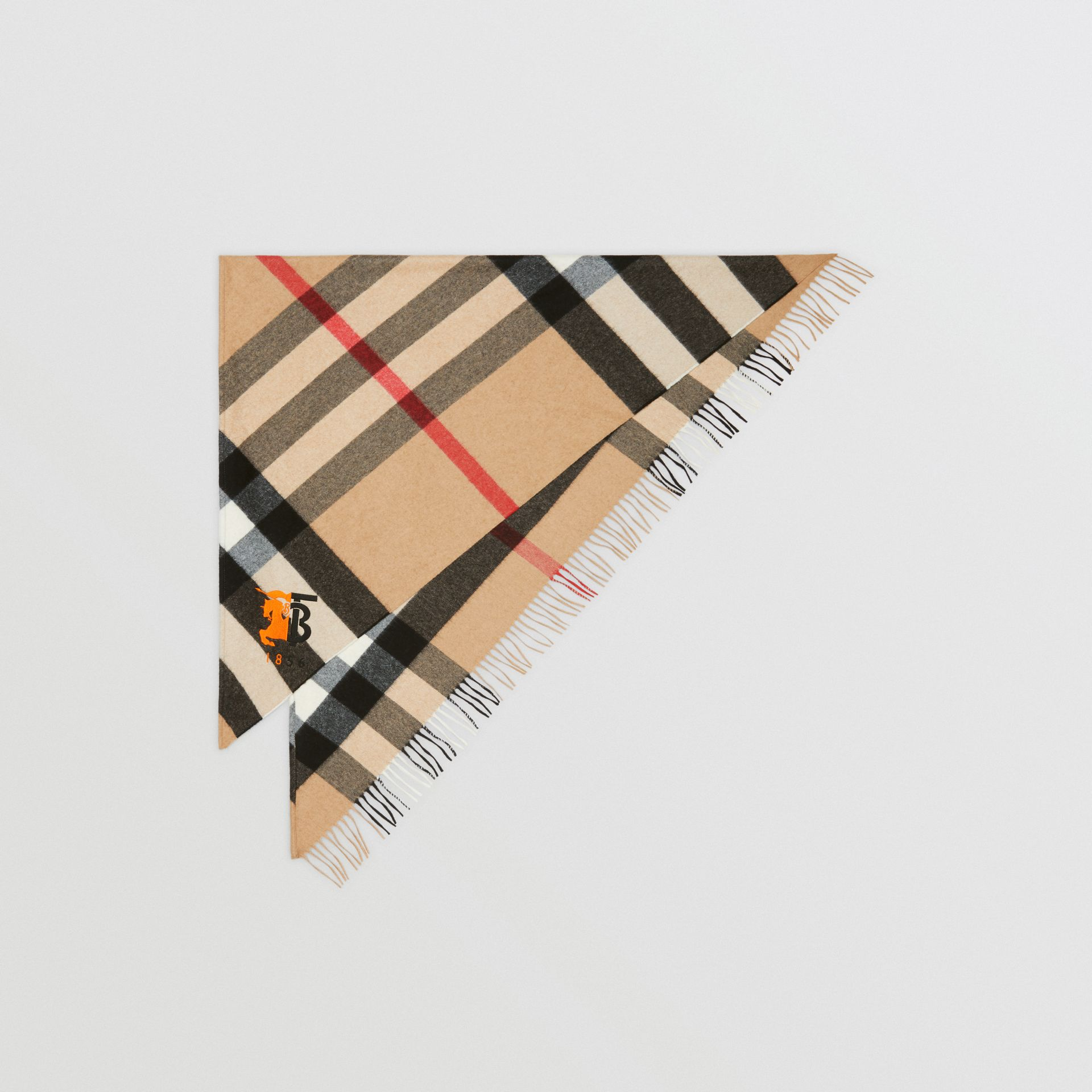 Contrast Logo Graphic Check Cashmere Bandana in Camel | Burberry - gallery image 0
