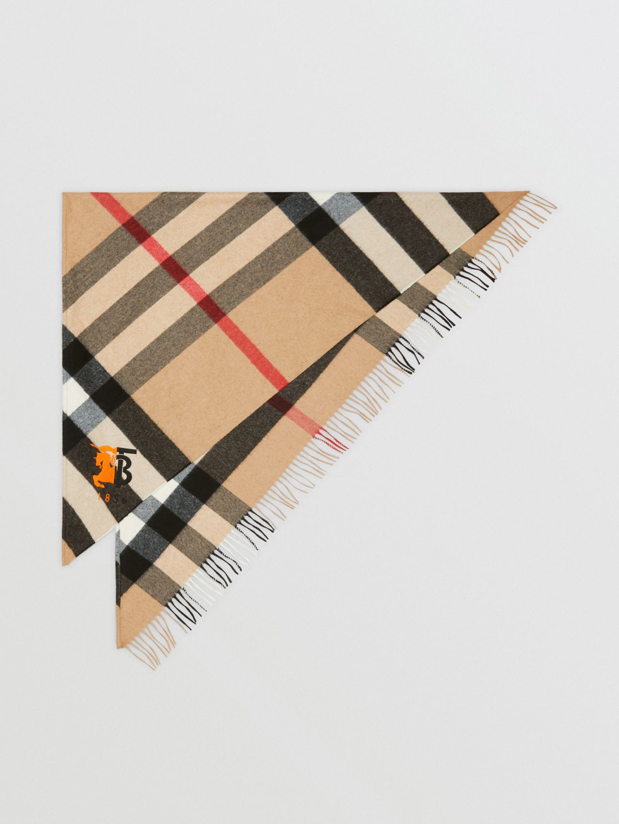 Contrast Logo Graphic Check Cashmere Bandana in Camel