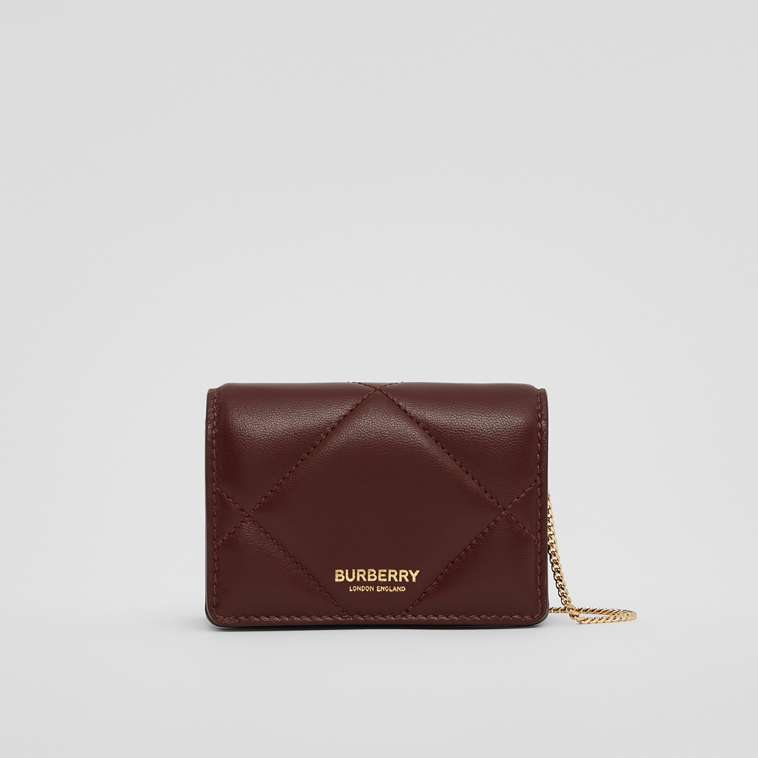 Quilted Lambskin Card Case with Detachable Strap in Garnet - Women | Burberry - 1