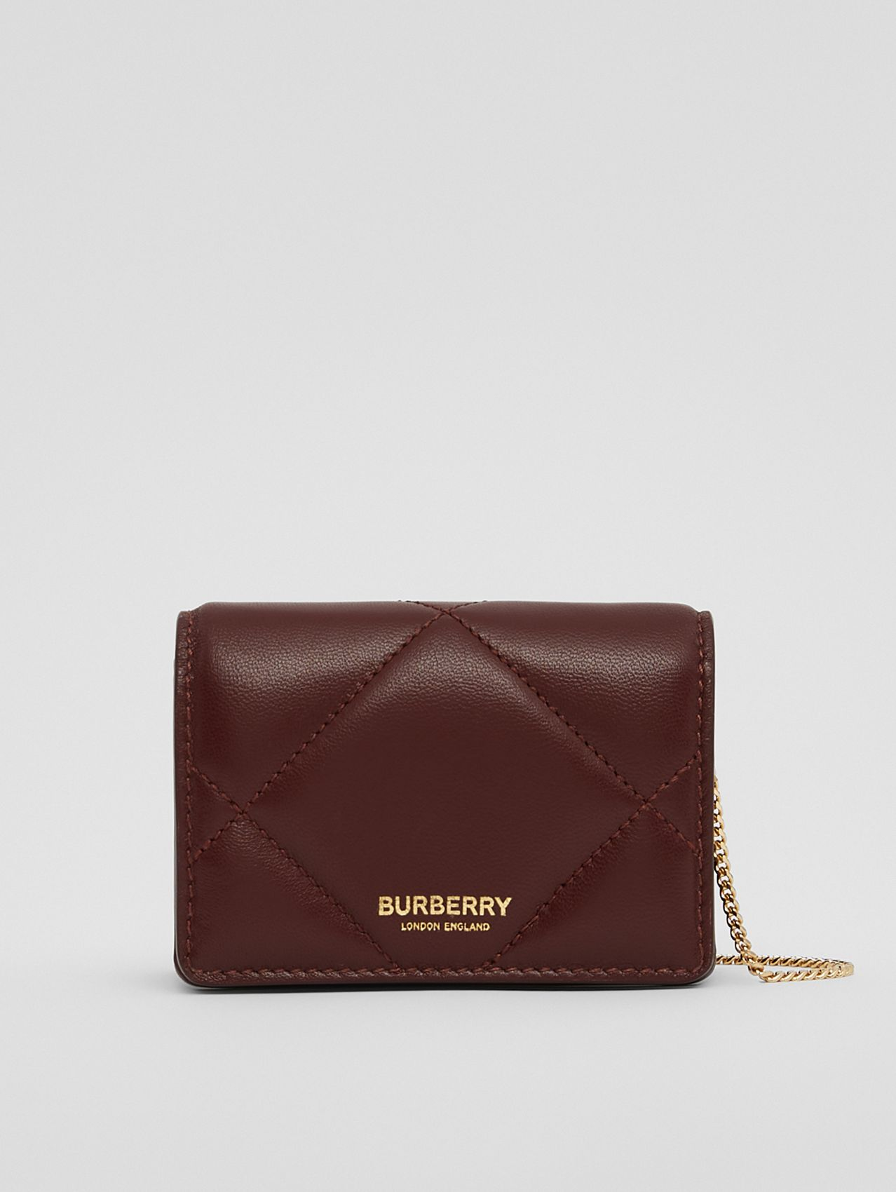 Quilted Lambskin Card Case with Detachable Strap in Garnet
