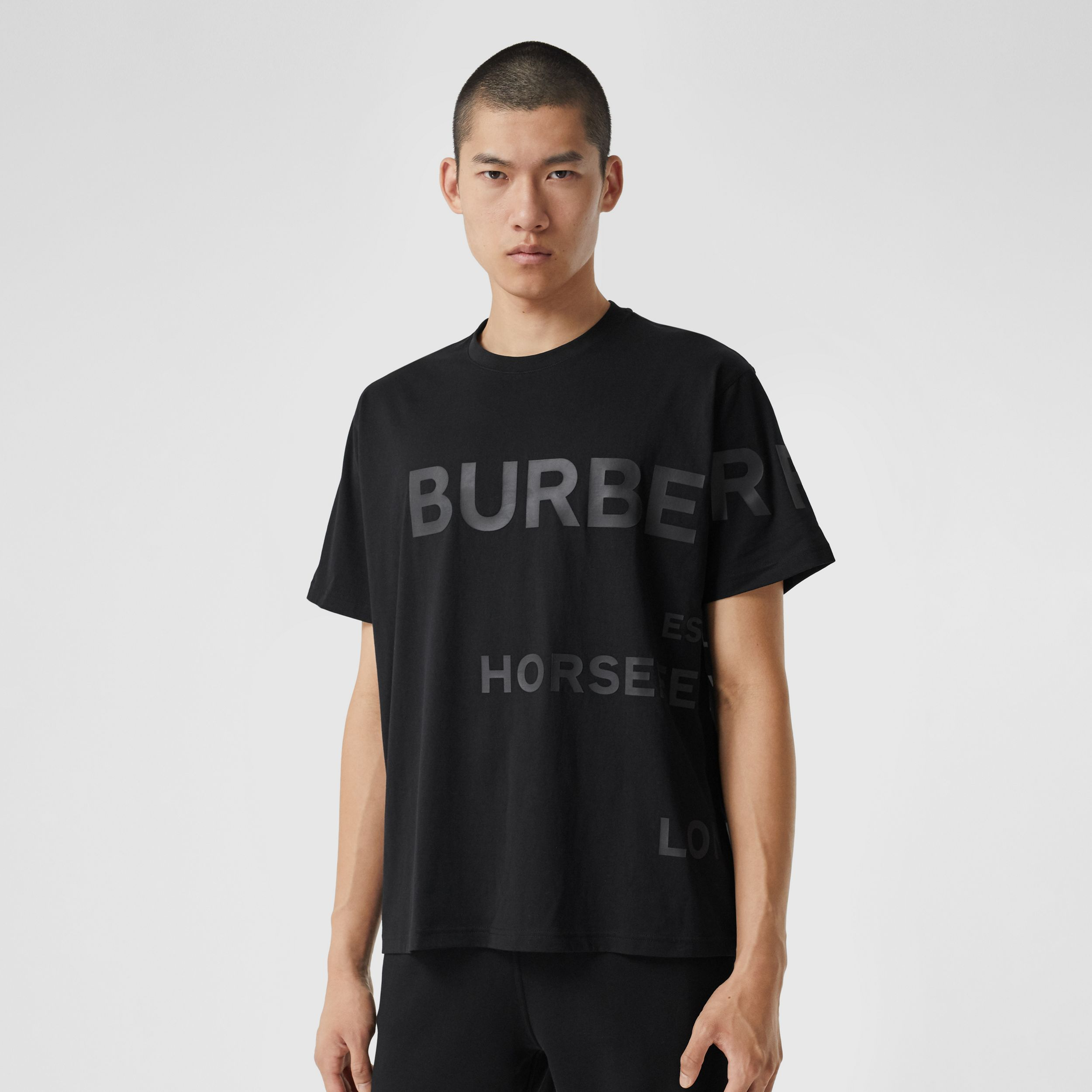 Horseferry Print Cotton Oversized T-shirt - Men | Burberry - 1