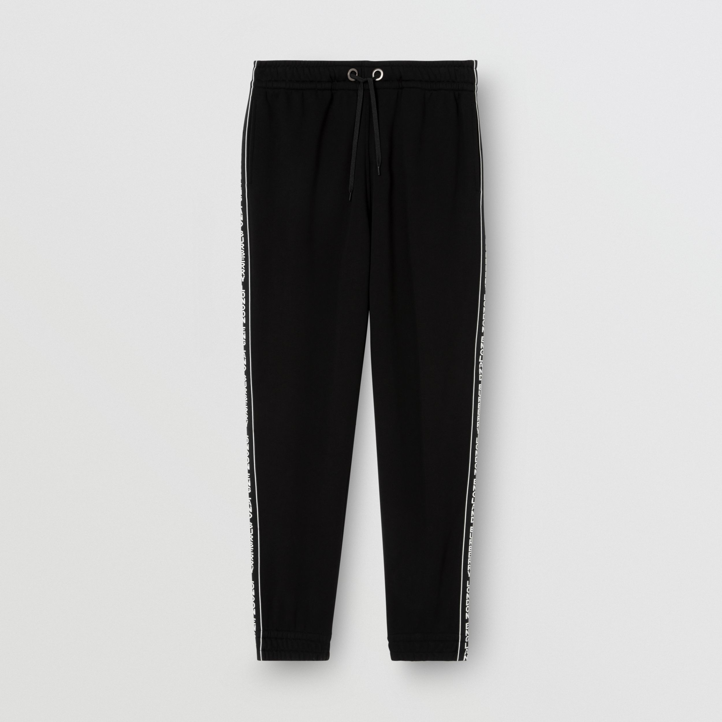 Logo Tape Cotton Jogging Pants in Black - Men | Burberry - 4