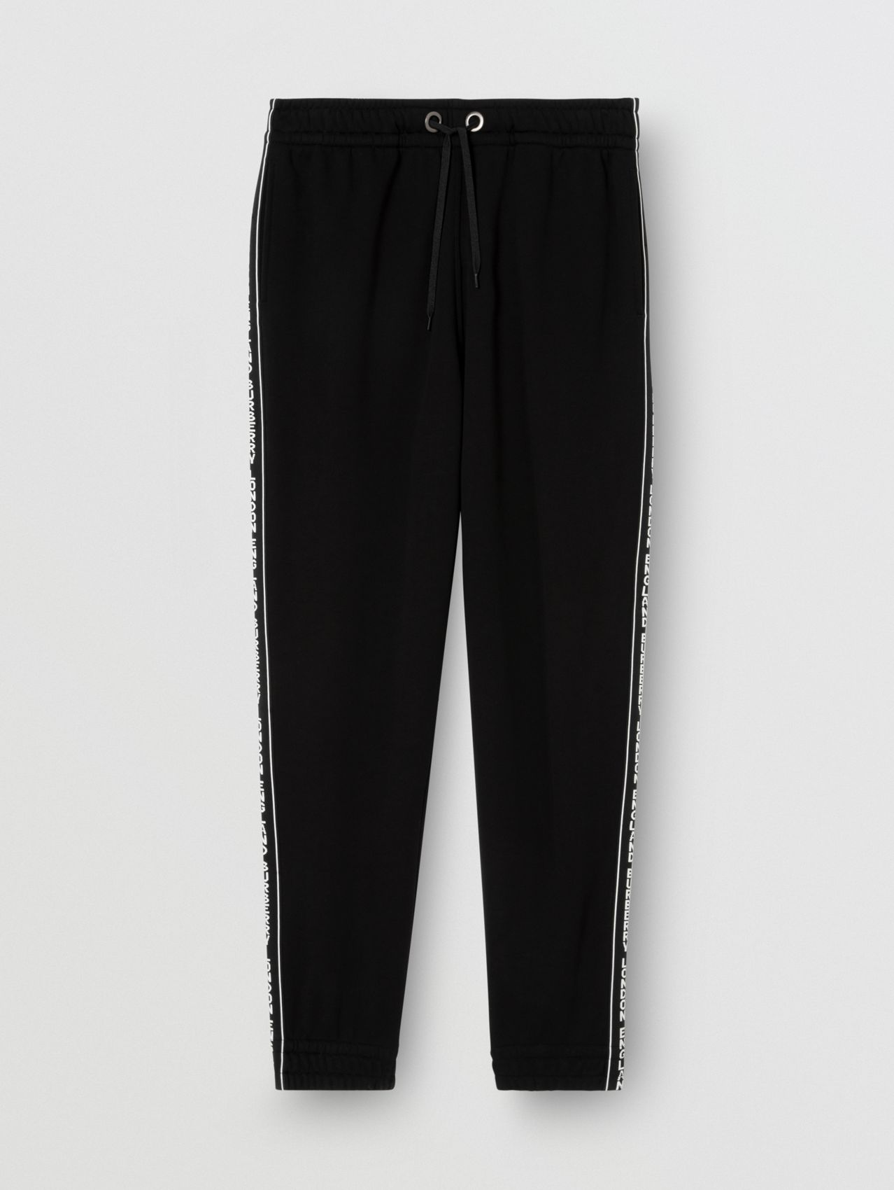 Logo Tape Cotton Trackpants in Black