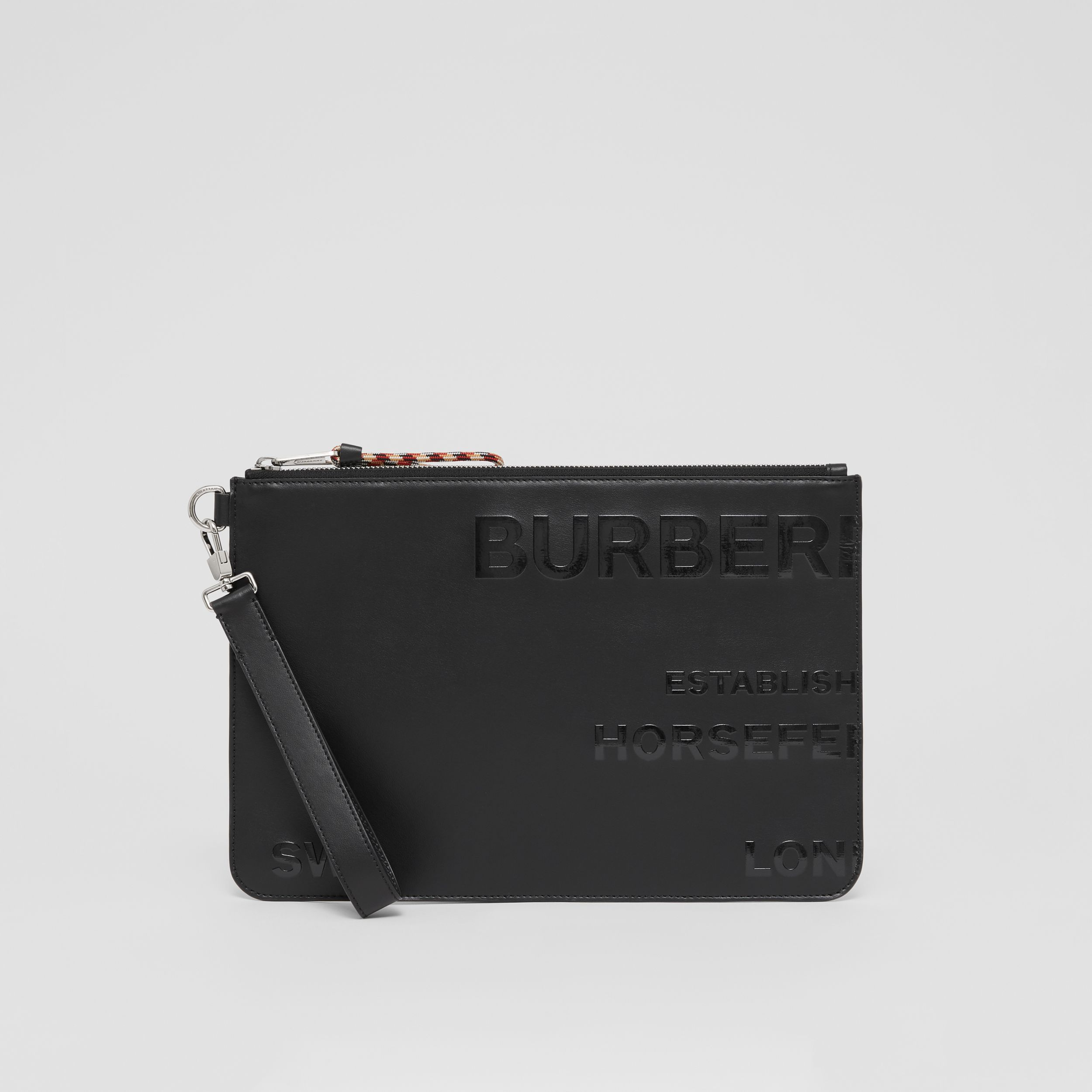Horseferry Print Leather Zip Pouch in Black | Burberry - 4
