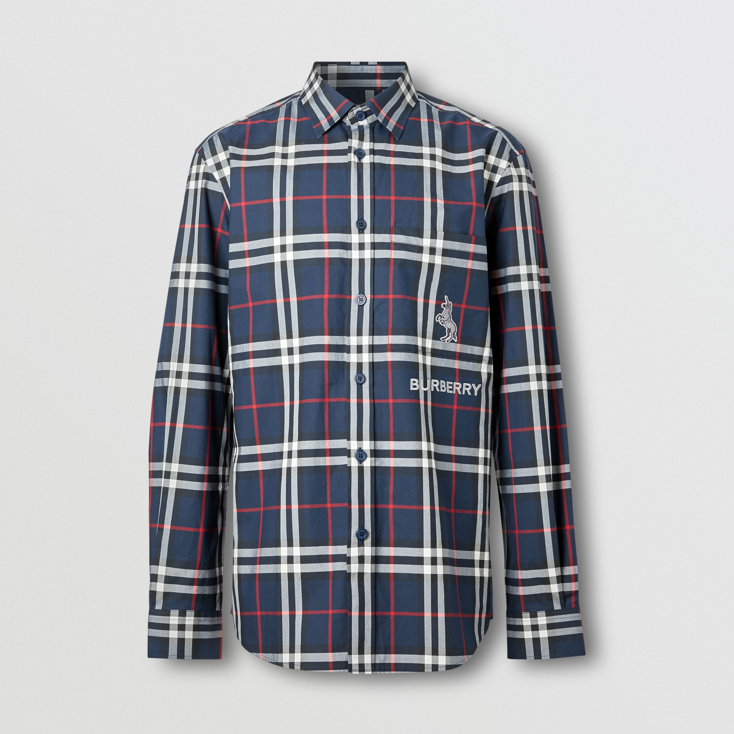 Classic Fit Swan Motif Check Cotton Shirt in Navy - Men | Burberry - 4