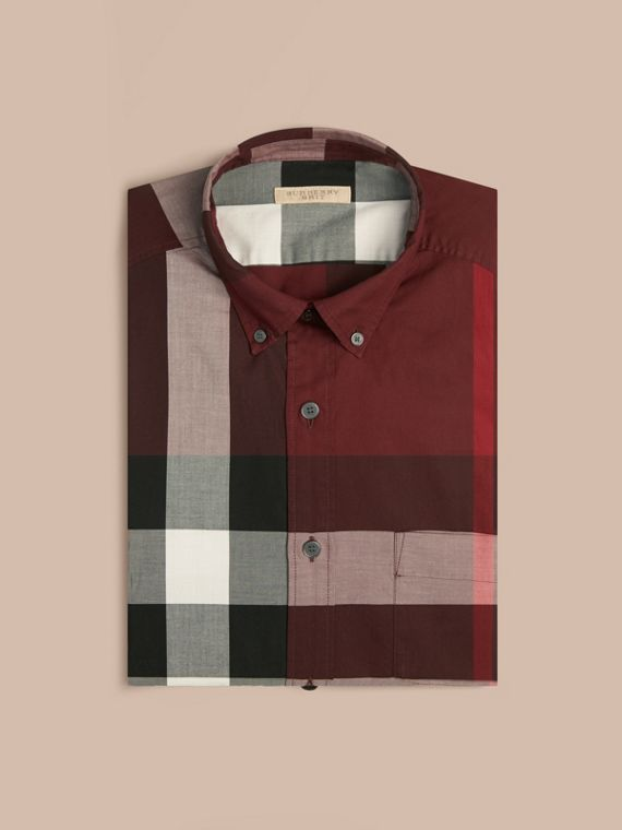Claret Check Cotton Shirt Claret - cell image 3