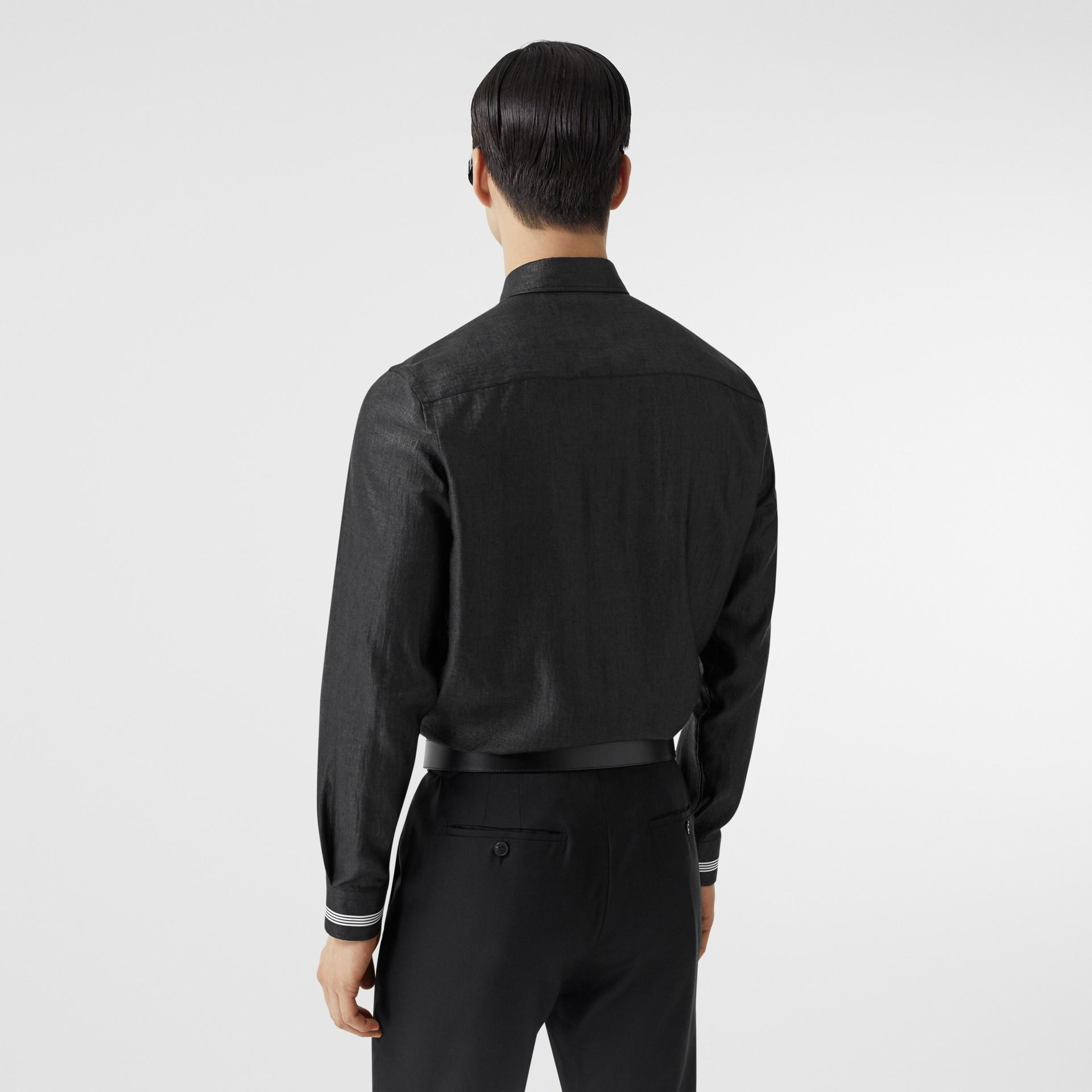 Logo Print Linen Blend Shirt in Black | Burberry - gallery image 2