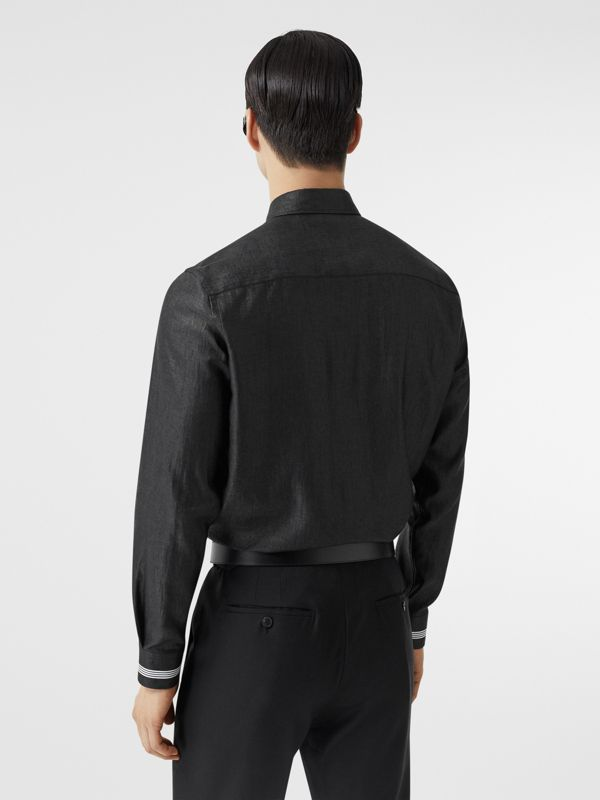 Logo Print Linen Blend Shirt in Black | Burberry - cell image 2