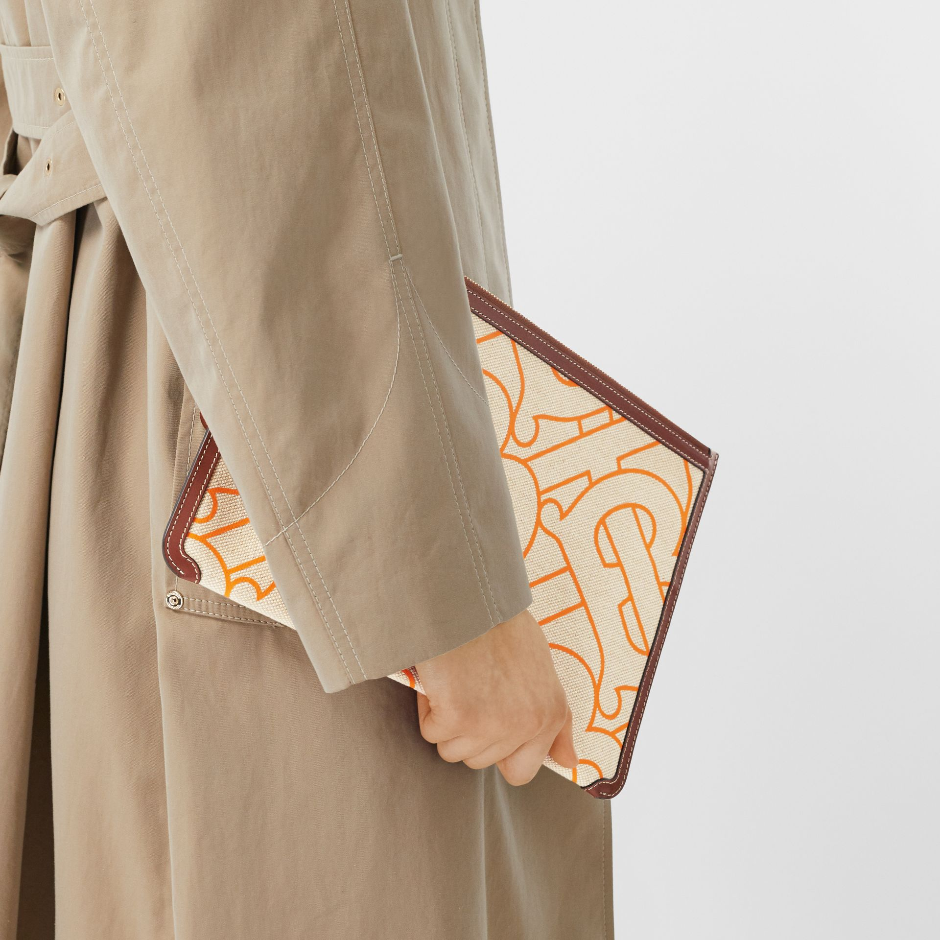 Monogram Motif Canvas and Leather Pouch in Natural/orange - Women | Burberry United Kingdom - gallery image 2