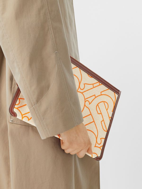 Monogram Motif Canvas and Leather Pouch in Natural/orange - Women | Burberry United Kingdom - cell image 2