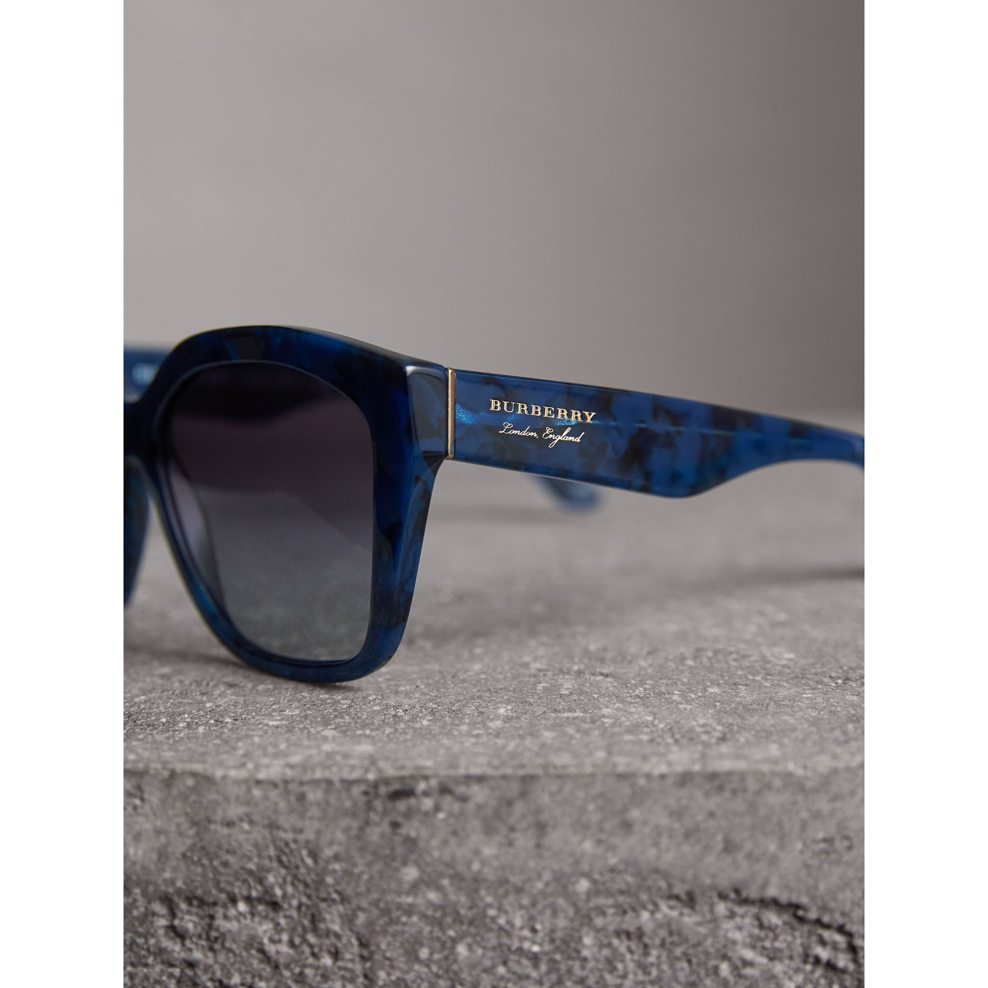 Square Frame Sunglasses in Blue - Women | Burberry United Kingdom - gallery image 1
