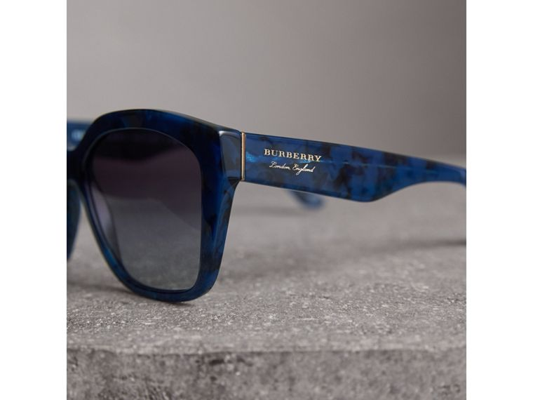 Square Frame Sunglasses in Blue - Women | Burberry - cell image 1