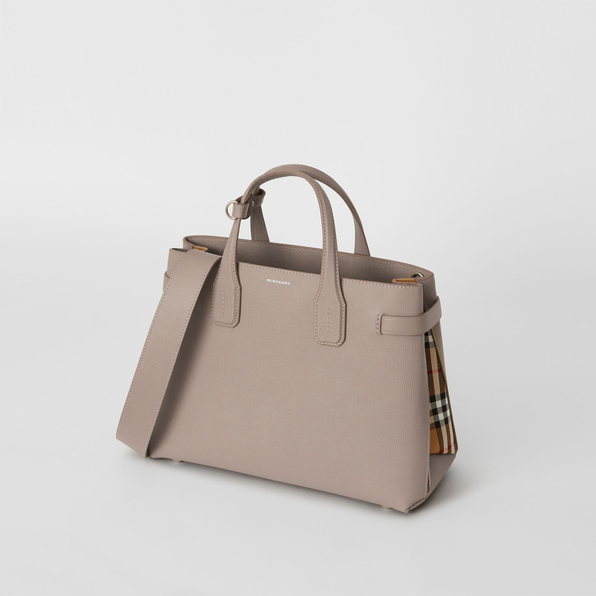 The Medium Banner in Leather and Vintage Check in Taupe Brown - Women | Burberry - gallery image 4