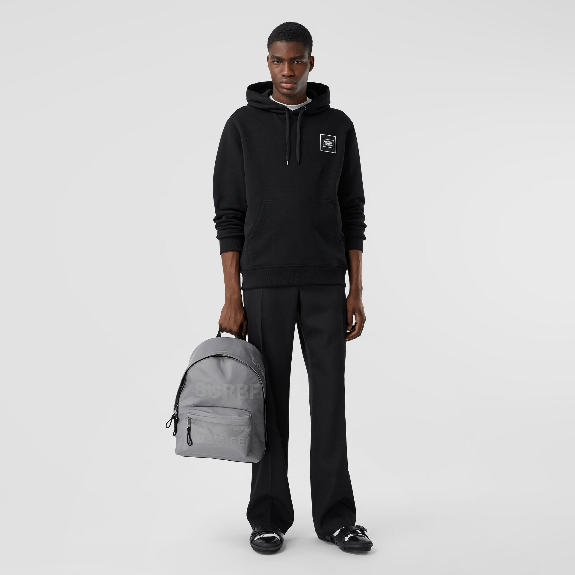 Horseferry Print ECONYL® Backpack in Cloud Grey | Burberry United States - gallery image 7