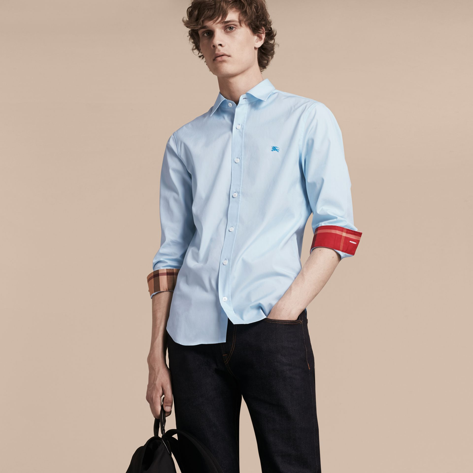 Check Detail Stretch Cotton Shirt in Pale Blue - gallery image 6