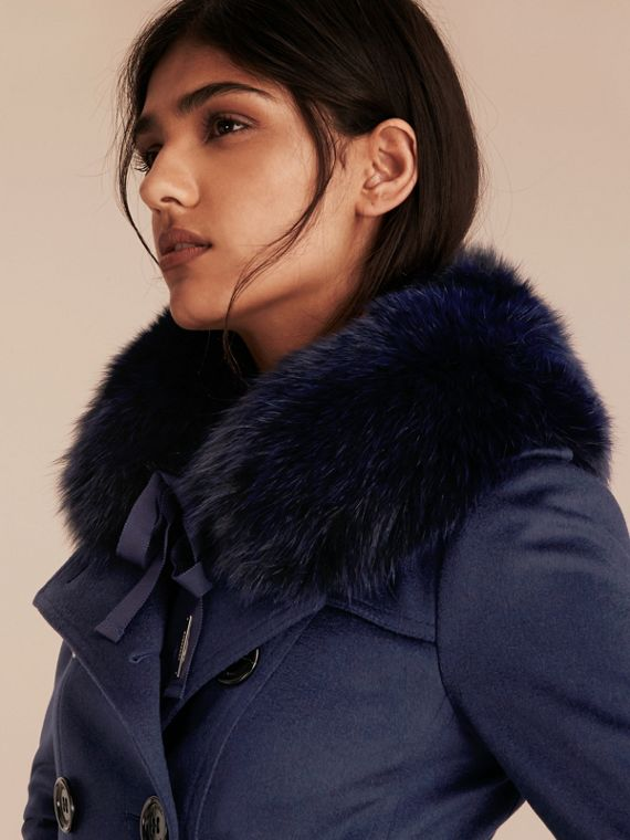 Fox Fur Collar with Check Cashmere Lining in Indigo Blue - Women | Burberry - cell image 2